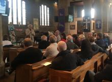 Photo of Gordon Dey presenting JSP at St. George's, Lupset