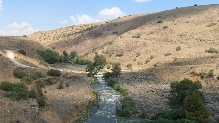 Photo of the Jordan River flowing through the desert