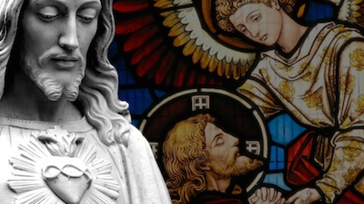 Photo of stained glass featuring an angel