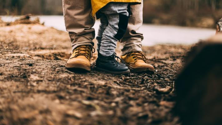Two pairs of boots; one adult and one child